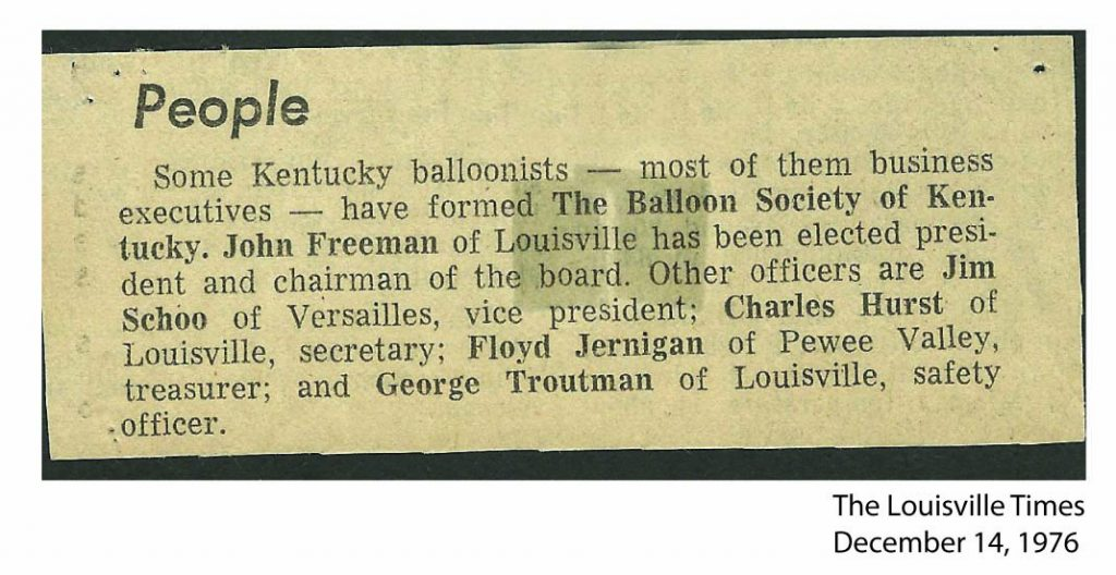 Founding of The Balloon Society of Kentucky - 1976